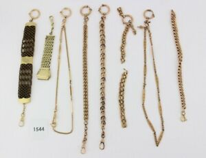 8 Antike Taschenuhr Kette pocket watch Chain Goldcharm Amerika Chronos Vergoldet