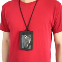 ID Window Business Credit Card Holder Leather Necklace Neck Strap Lanyard Badge
