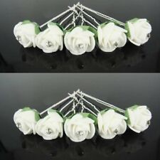SET 10 FORCINE Rose Fiori Matrimonio Sposa accessorio per capelli BIANCO VERDE