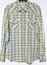 Levis Pearl Snap Button Flannel plaid green Size XL.
