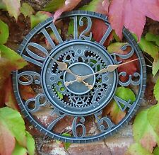 Outdoor indoor Garden Wall Clock Hand Painted church, 30cm Slate Effect 1087