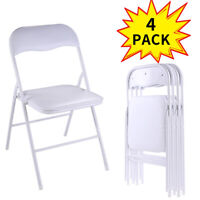 White 4-Pack Commercial Plastic Folding Chairs Stackable Party Wedding Chair