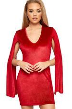 Vestiti da donna rossi velluto con scollo a v
