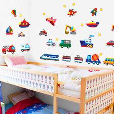 Cars Trucks Planes Trains Bus wall sticker Cartoon Mural Kids Nursery Decor Art