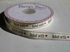 "2m Bertie's Bows Marfil ""al horno con"" imprimir 16mm cinta de grogrén, Envoltura Para Regalo,"