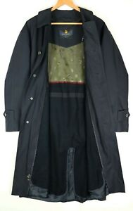 """BUGATTI Black Lined Mens Mac Trench Coat Size 23 (Pit to Pit 23"""")"""