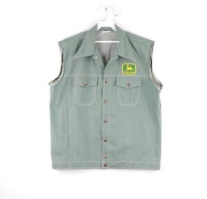 Vintage 70s John Deere Spell Out Patch Sleeveless Denim Jean Vest USA Mens Large