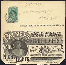 1890c. 1/2d Green Advertising Wrapper Palmers VENUS Night Lights Fine Used