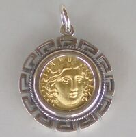 Helios Ancient Sun God Pendant with Meander Design (Gold Plated) -Rhodes Helius