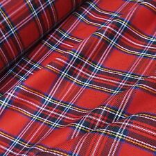 Rojo Y Negro Royal Stewart poly-viscose Tartan Tela * Por Metro