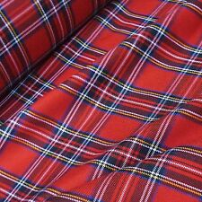 Rosso & Nero Royal Stewart POLY-VISCOSA tessuto tartan (per Metro)