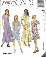 8714 UNCUT McCalls Pattern Misses Semi Fitted Easy Button Front Dress FF OOP SEW