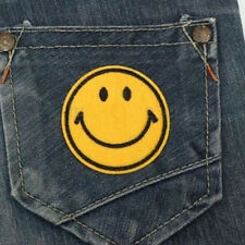 Happy Smile Face Yellow Iron On Applique Embroidered Patch DIY Sewing Pop US