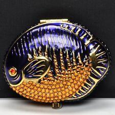 Estee Lauder Powder Compact  BLUE FISH  NIB Beautiful Crystals