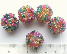 5 x glass seed bead covered acrylic beads, approx 16 mm, MULTICOLOURED 17