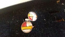 red handmade designer cufflinks in silver and ceramic from Mexico