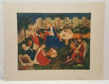 Vintage Art Print Little Garden of Paradise Mary and Jesus
