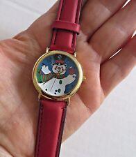 MAJESTI WATCH CO Snowman Christmas Quartz Watch Red Leather Band Strap