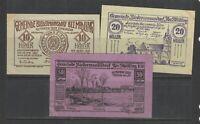AUSTRIA NOTGELD BIEDERMANNSDORF 22.JUNI.1920 SET of 3 UNC