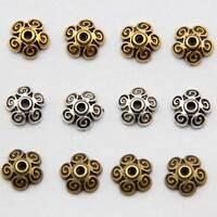 50PCS 10*3mm Tibetan Flower Shape Bead Caps Metal Alloy Loose Spacer Beads