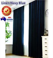 Darkness Navy Blue Quality Linen Velvet Blockout Blackout Eyelet Curtains Drapes