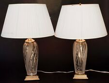 PAIR OF HEAVY CRYSTAL GLASS AND BRASS CLEAR FROSTED SWIRL TABLE LAMPS