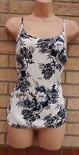 NEXT VTG WHITE BLUE THICK SILKY FEEL STRAPPY TUNIC CAMI VEST TOP BLOUSE 6 XS
