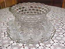 "Fostoria 14"" Punch Bowl Set - bowl,  pedestal base, 19"" torte plate, 12 cups"