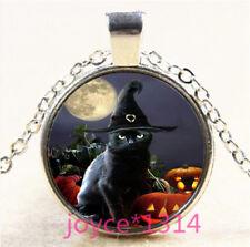 Halloween Black Cat Cabochon Tibetan silver Glass Chain Pendant Necklace #5131