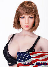 "1/6 Female Head sculpt SHORT Hair For 12"" Hot Toys PHICEN Figure ❶USA❶ IN STOCK"