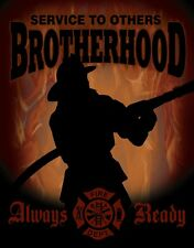 Metal Sign Fire Police Rescue Firefighters Brotherhood Service to Others NEW