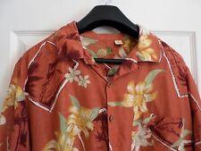 L Caribbean Tropical Hawaiian Floral S/S Button Shirt~Silk Linen~Orange~EUC