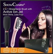 ShowCharm Ionic Electric Hair Straightener Brush Comb LED Straightening
