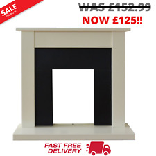 Adam Sutton Fireplace Reversible Back Panel Cream and Black, 43 Inch