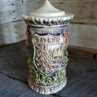 "Wax Candle Vintage German Hand Carved w Lid 8"" Bayern Germany Konigssee Lake"