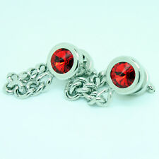 Blue Purple Red Silver Chain Wrap Cufflinks with Stones