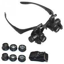 Jewelry Watch Repair Double Eye Magnifier Loupe Glasses With LED Light 8 Lens