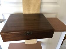 Vintage Wooden Card and Clay Poker Chip Box