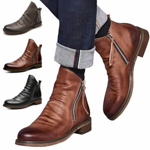 New Retro Mens Chelsea Brogue Ankle Smart Boots Faux Leather Casual Zip Up Shoes