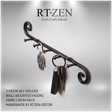 5 Hook Key Holder | Wall Mounted Hanger | Wrought Iron Key Rack Rtzen Handmade