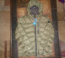 Mens Nautica Hooded Down Puffer Winter Jacket Size Large Olive Green