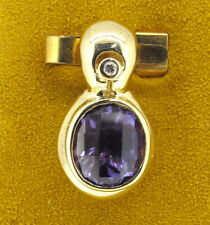 7 mm Alexandrite Checkerboard Cut 14k Yellow Gold Diamond Pendant
