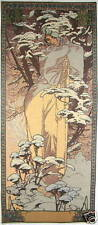 "ALPHONSE MUCHA WINTER 40 ""x 18"", 102cm x 46 cm Completamente Foderate Tapestry Wall da appendere"