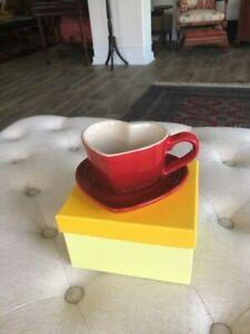 Le Creuset Red Heart Mug & Saucer Tray Set