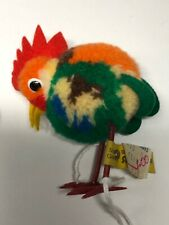 """2.5"""" Vintage Steiff Colorful Wool Made Woolie Bird Rooster Chicken Has Tags #X"""