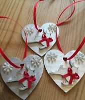 3 X Reindeer Christmas Decorations Shabby Chic Rustic Wood Heart Silver Red