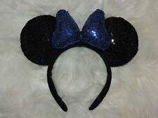 Minnie Mouse Sequin Headband Ears Bow Sparkly Disney Party Black Blue