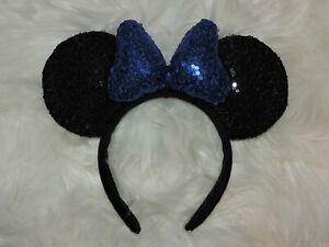 Minnie Mouse Sequin Headband Ears Bow Sparkly Disney Party Black Blue