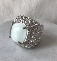 Park Lane Glitterati Ring 6 Silver Tone Cz Pave  White Gray Cats Eye Rare Size!