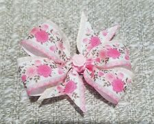 3inches Pink rose Pin Wheel Hair bow Toddler Girly delicate victorian